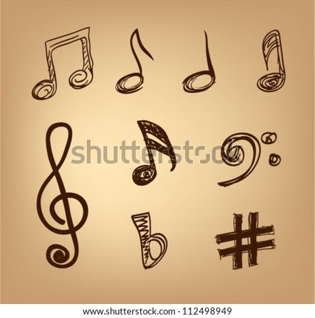 Musical notes. Hand drawn sketch - stock vector