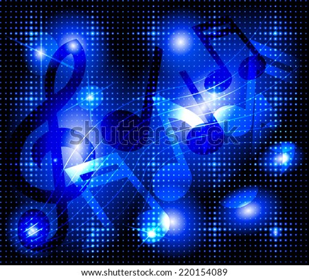 Musical notes on a glowing blue background  - stock vector