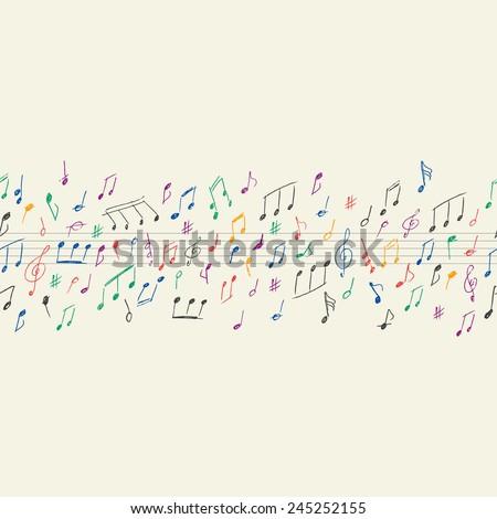 Musical notes seamless - stock vector
