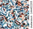 Musical notes seamless pattern, vector background, eps 10. - stock