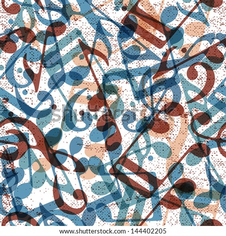 Musical notes seamless pattern, vector background, eps 10. - stock vector