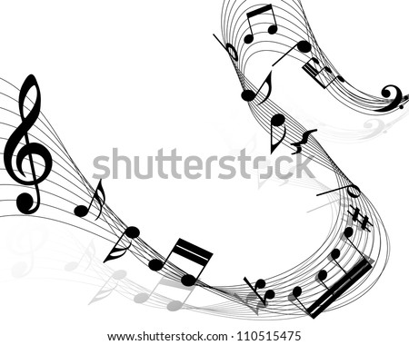 Musical notes staff background on white. Vector illustration. - stock vector