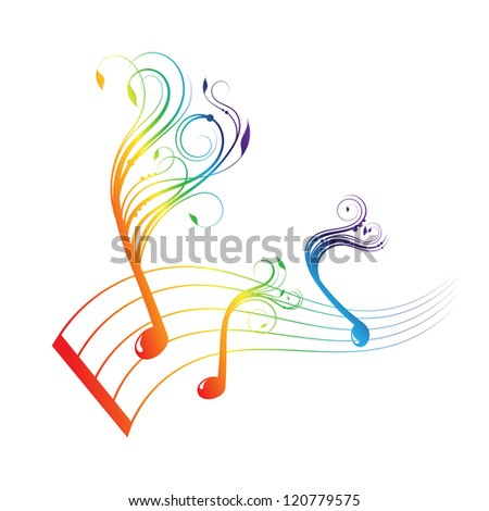 Musical notes staff background with design - stock vector