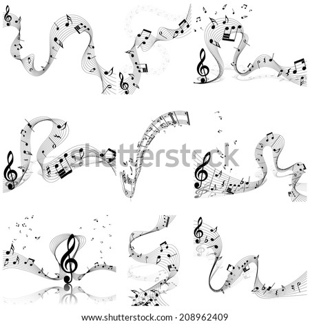 Musical notes staff set. Vector illustration with transparency EPS10. - stock vector