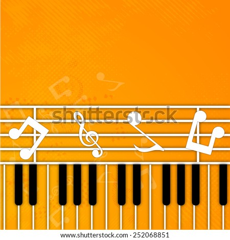 Musical notes with piano keyboard on seamless yellow background. - stock vector