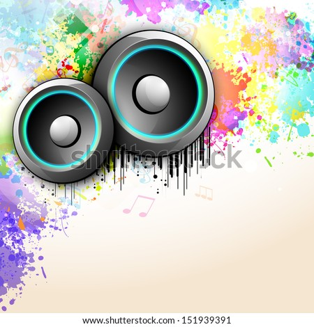 Musical parties concept with illustration of speakers on colorful grungy background.