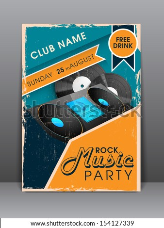 Musical party night flyer, brochure or cover design.  - stock vector
