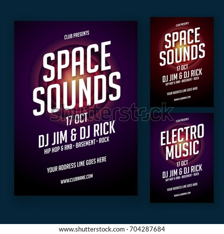 Musical Party Poster Banner Design Two Stock Vector 704287684