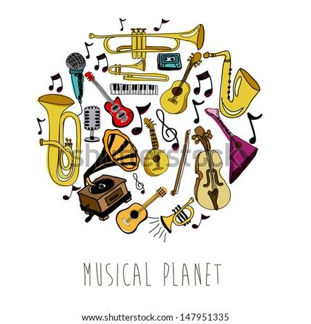 musical planet over white background vector illustration  - stock vector