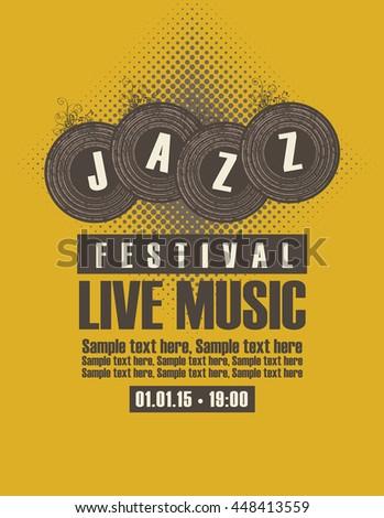 Musical poster depicting jazz festival vinyl records - stock vector