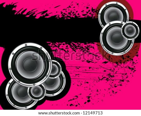 Musical poster on the background  grunge. A pink and black. - stock vector