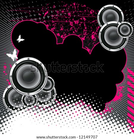 Musical poster on the background  grunge. Black with butterflies and dots. - stock vector