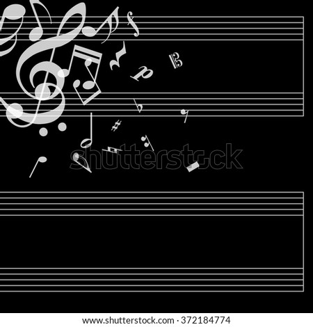 Musical Poster Stave Notes On Black Stock Vector 372184774