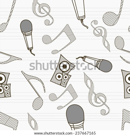 Musical seamless pattern wallpaper with musical instrument and musical notes. - stock vector