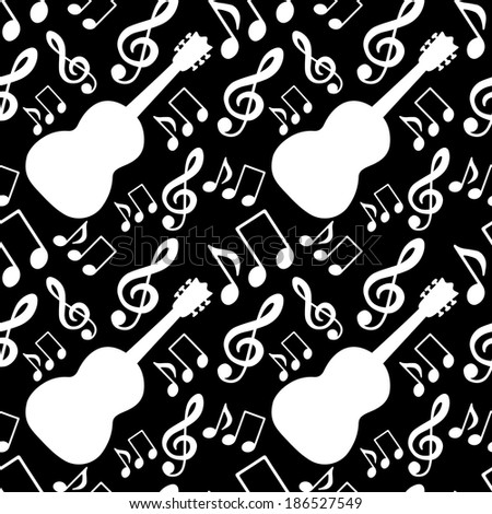 Musical seamless pattern with music notes, treble clef, guitar in black and white - vector  - stock vector
