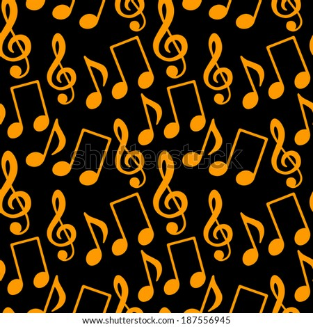 Musical seamless pattern with music notes, treble clef in black and gold - vector  - stock vector