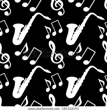 Musical seamless pattern with music notes, treble clef, saxophone in black and white - vector  - stock vector