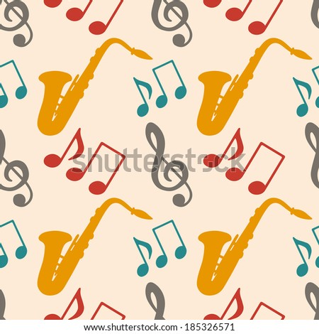 Musical seamless pattern with music notes, treble clef, saxophone - vector  - stock vector
