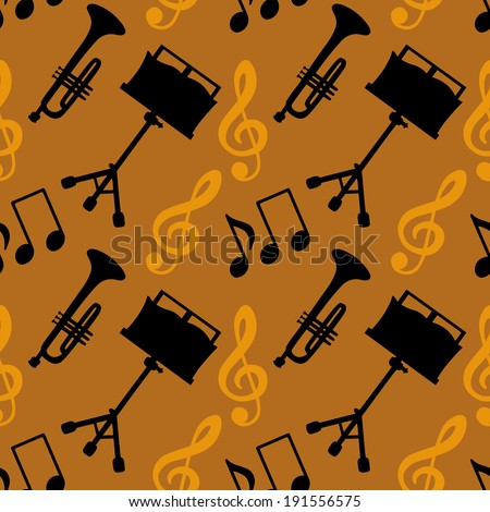 Musical seamless pattern with music notes, treble clef, trumpet, music stand. Endless print silhouette Texture. Retro. Vintage style - vector  - stock vector