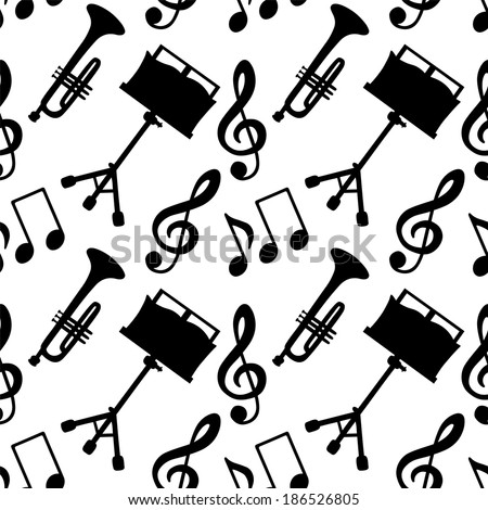 Musical seamless pattern with music notes, treble clef, trumpet, music stand in black and white - vector - stock vector