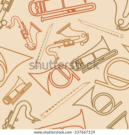 Musical seamless pattern with musical instrument. - stock vector