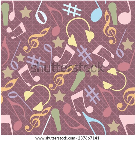Musical seamless pattern with musical instrument and notes. - stock vector