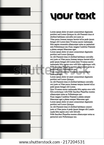 Musical template with piano keys - stock vector