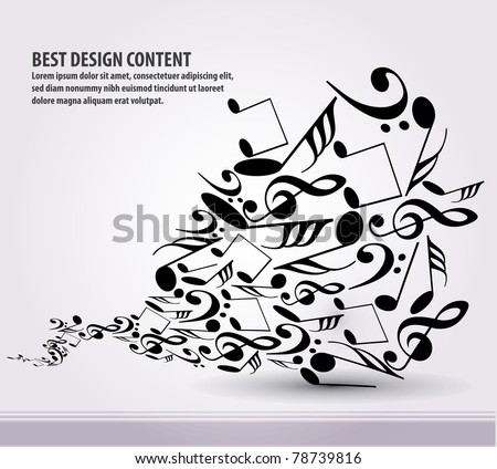 Musical theme background with waves circles and splash, Editable Illustration - stock vector