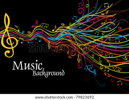 Musical theme disco background with circles and splash, Editable Illustration - stock vector