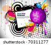 Musical theme disco background with music tunes, Editable Illustration - stock vector