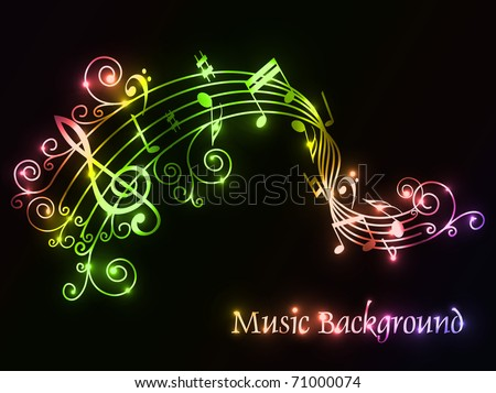 Musical theme retro tv and disco background with music tunes, Editable Illustration - stock vector