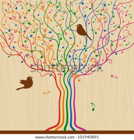 Musical Tree. Vector - stock vector