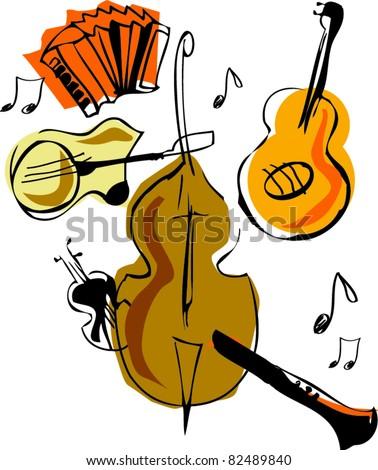 Musical vector instruments - stock vector