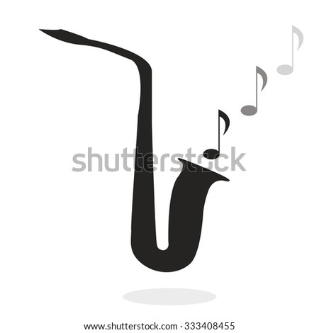 musical wind instrument, picture of saxophone - stock vector