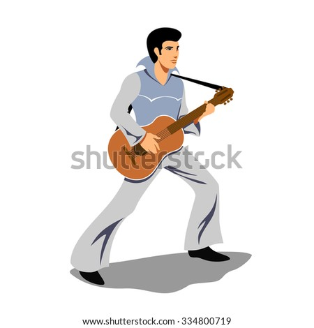 Musician artist like Elvis Presley with a guitar. Artist and instrument, rock and sound, musical string, guitarist concert, performer and entertainment. Vector illustration - stock vector