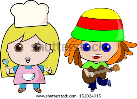 Musician boy and cooking girl