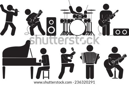 musician icon set - stock vector