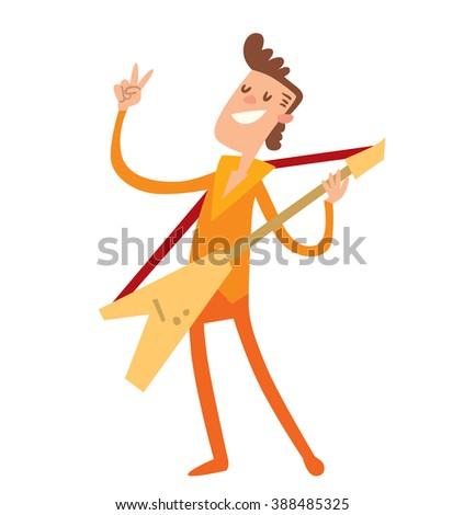 Musician people flat illustration. Musician cartoon characters with guitar isolated on white background. Musician guitarist people icons. Musician people rock guitar cartoon style. - stock vector