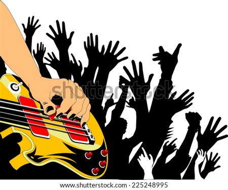 musician performs solo party on the red guitar. vector illustration - stock vector