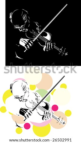 musician playing violin isolated on black - stock vector