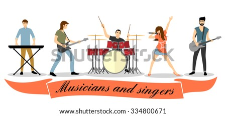 Musicians and singers vector set. Rock band concert, group performance, guitar bass, microphone and vocalist illustration - stock vector