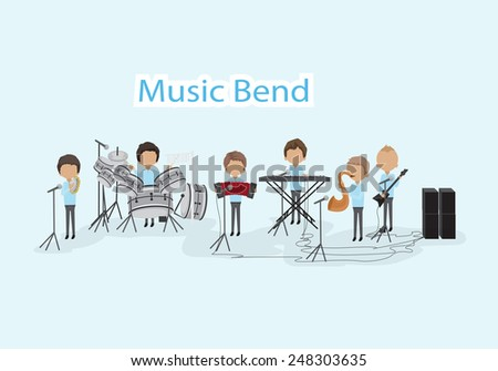 Musicians - Isolated On Blue Background - Vector Illustration, Graphic Design Editable For Your Design - stock vector