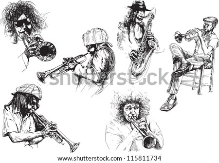Musicians - Jazzmen. Collection of illustrations isolated on white background.