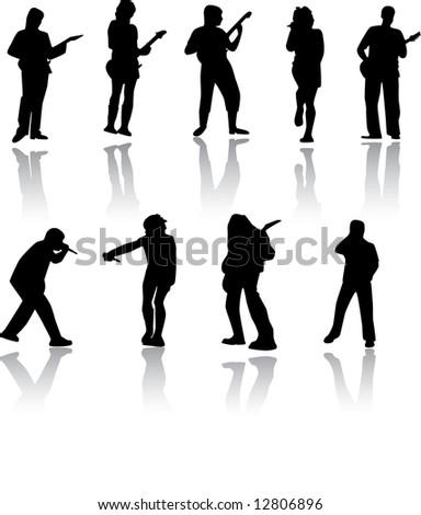 Musicians. Silhouette. Vector. - stock vector