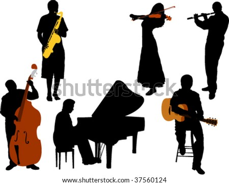 musicians silhouette vector - stock vector