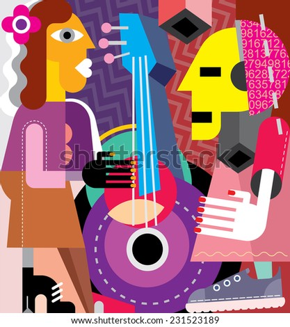 Musicians vector illustration. Woman playing guitar, man listening music. - stock vector