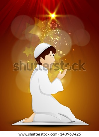 Muslim boy in Islamic traditional dress praying (reading Namaz, Islamic Prayer) on shiny abstract background. - stock vector