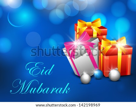 Muslim community festival Eid Mubarak background with gift boxes wrapped in ribbon on shiny blue background.