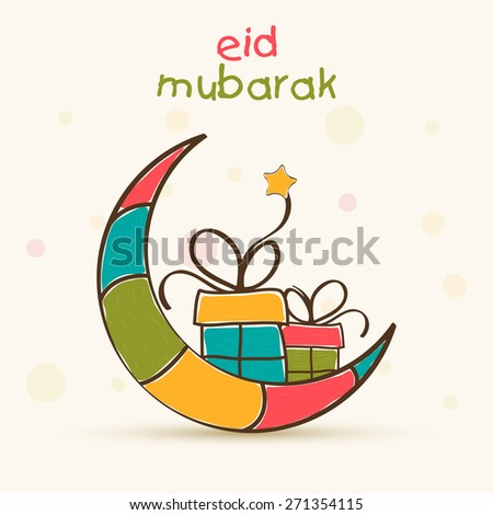 Muslim community festival, Eid Mubarak celebration greeting card with colorful creative moon and gifts. - stock vector