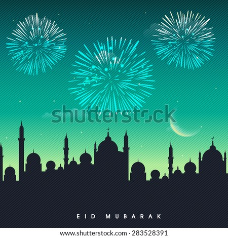 Muslim community festival, Eid Mubarak celebration with mosque silhouette on fireworks decorated night background. - stock vector